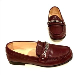 COLE HAAN Chained Burgundy Loafers Size 6
